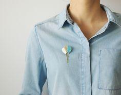 Broche bouquet de ballons en cuir bleu menthe, blanc et or Bleu Menthe,  Ballons 8ddc0efeb36