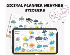 Use for weather tracking, mood tracking, and more. Weather Tracking, Goal Tracking, Planner Book, Productive Day, Planner Organization, Setting Goals, Handmade Items, Handmade Gifts, Planner Stickers