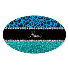 Name sky blue leopard turquoise glitter sticker