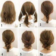 Fashionable Braid Hairstyle for Shoulder Length Hair - Hair Inspiration - Mittellanges Haar Hair Tutorials For Medium Hair, Up Dos For Medium Hair, Buns For Short Hair, Short Hair Updo Easy, Messy Bun Medium Hair, Long Bob Updo, Simple Hairstyles For Medium Hair, Updos For Medium Length Hair Tutorial, Braids For Medium Length Hair