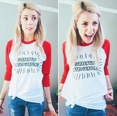 I dressed up as my favorite style icon for school today! Grace Helbig, Love Hair, New Wardrobe, Messy Hairstyles, I Dress, What To Wear, Feminine, T Shirts For Women, My Style
