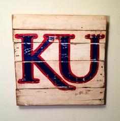 Kansas Jayhawks Sign / University of Kansas by PalletsandPaint