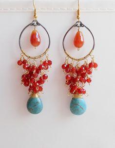 Helene mixed metal gemstone chandelier earrings blue orange red dangle cluster earrings carnelian howlite gold fill oxidized sterling silver by Gemjewelryandmore on Etsy https://www.etsy.com/listing/536770470/helene-mixed-metal-gemstone-chandelier