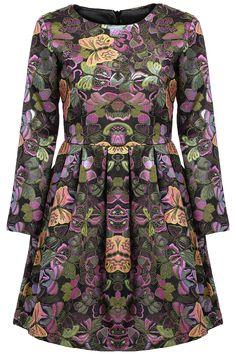 Black Long Sleeve Butterfly Print Loose Dress 28.83
