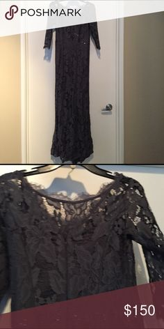 Gown QSmokey Grey / Blue Adrianna Papell Dresses Maxi