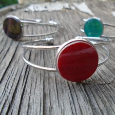Cuff Bracelet with Stained Glass by Tocasol on Etsy