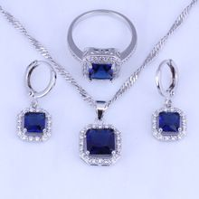 Small Square Imitation Sapphire Cubic Zirconia Hoop Earring Pendant Necklace Ring 925 Stamp Silver Plated Jewelry Sets H0272 www.bernysjewels.com #bernysjewels #jewels #jewelry #nice #bags