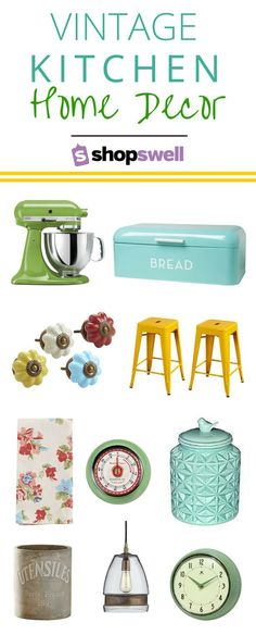 Vintage Decor Ideas Vintage Kitchen for your home decorating inspiration. - Are you a sucker for vintage home decor? Check out these 25 decor essentials for the vintage kitchen. Vintage Kitchen Decor, Retro Home Decor, Home Decor Kitchen, Vintage Decor, Diy Home Decor, Kitchen Ideas, Country Kitchen, Kitchen Colors, Colorful Kitchen Decor