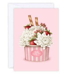 Strawberries & Chrysanthemums Greeting Cards - size x / x A6 Size, Chrysanthemums, Blank Cards, White Envelopes, Strawberries, Greeting Cards, Art Prints, Paper, Flowers