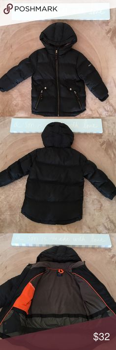 🔵Just Listed🔵Gap Kids winter coat sz XS (4-5) Get ready for winter! Water repellant outer, warm REAL down filling, sleeves with ribbed storm cuffs, attached hood, two side pockets with zipper closure, interior snow skirt for extra warmth. Shell 100% polyester. Upper body lining 100% polyester. Lower body lining 100% nylon. Sleeve lining 100% nylon. Hood lining 100% polyester. Filler down (min. 75% down). Has a few tiny holes around sleeve seam on both sides (see pic) Lots of wear left…