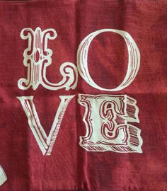 "New Pottery Barn LOVE SENTIMENT PILLOW COVER 18"" Red Rust Cotton LaLangston NWT…"