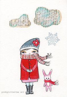 Chica de invierno y el conejo ilustración impresión