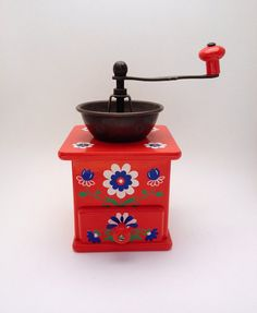 Vintage Hand Painted Coffee Mill  Made in West by MelbaMoon, $36.00