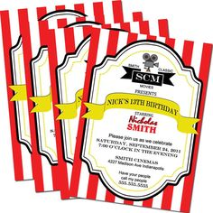 Movie Birthday Invitations  Movie Theater Party by LullabyLoo, $18.00