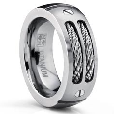 Metal Masters Co. Men's Titanium Ring Wedding Band with Stainless Steel Cables and Screw Design Sizes 7 to 13 Mens Stainless Steel Rings, Stainless Steel Cable, Titanium Rings For Men, Hot Men, Bracelet Cuir, Engagement Jewelry, Engagement Photos, Wedding Ring Bands, Unique Mens Wedding Bands