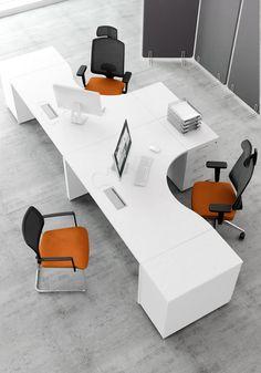 MDD Office Furniture OGI_V Radial office desk furniture layout Office Table Design, Office Furniture Design, Office Interior Design, Furniture Layout, Plywood Furniture, Office Interiors, School Furniture, Modern Office Desk, Office Workspace