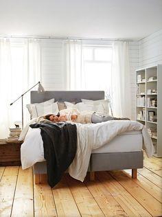 IKEA: Bekkestua headboard. It's grey and tufted, of course I want it!