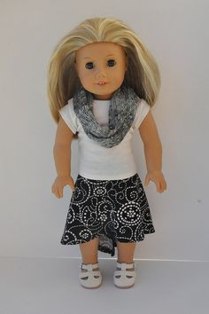 American Girl Doll Clothes Black and Cream Print  by CircleCSewing, $18.00