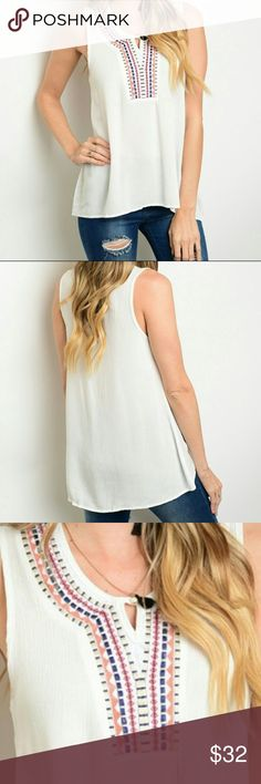 ❤Embroidered Tank❤ Fabric: 100% Rayon❄️Features: relaxed fit, embroidered neckline, small keyhole neck, Wrinkle textured fabric❄️Made in the USA❄️Price Firm❄️No Trade❄️ ThreadzWear Tops Tank Tops
