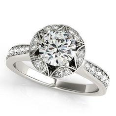 Art Deco Inspired Engagement Ring Diamond Setting Moissanite Center - Love in Bloom