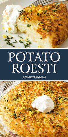 Potato Roesti is delicious with eggs for breakfast, or served as a side dish for any meal.Potato Roesti (or rösti or röschti) is a classic Swiss potato side dish that resembles a giant hash brown.Shredded potatoes are lightly seasoned, then fried in. Potato Side Dishes, Vegetable Side Dishes, Vegetable Recipes, Chicken Side Dishes, Potato Rosti Recipe, Potato Recipes, Breakfast Crockpot Recipes, Vegetarian Breakfast Recipes, Grilling Recipes