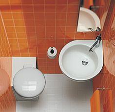 Ergo corner basin and toilet Space Saving Bathroom, Compact Bathroom, Tiny House Bathroom, Bathroom Toilets, Downstairs Bathroom, Modern Bathroom, Small Bathrooms, Shower Bathroom, White Bathroom