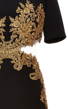 Embroidered Cut Out Dress by Reem Acra for Preorder on Moda Operandi