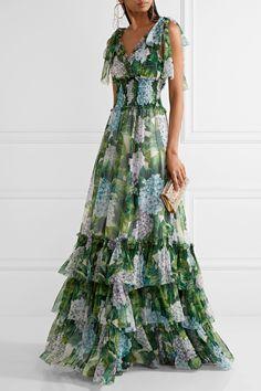 Dolce & Gabbana | Ruffled floral-print silk-chiffon gown | NET-A-PORTER.COM