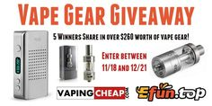 Enter to Win over $260 worth of vape gear at http://VapingCheap.com