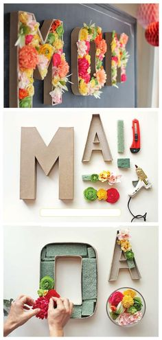 DIY floral filled letters