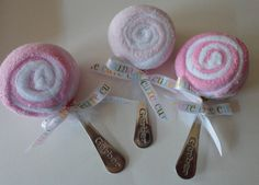 Spoon and washcloth lollipops