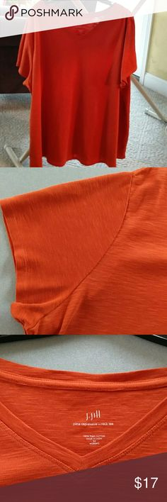 Plus J. Jill orange cap sleeve t-shirt J. Jill cap sleeve orange cotton t-shirt. V neck. Cap sleeves. Color is very pretty, slightly more muted than in the closeup pics. Heather look to the cotton fabric; J. Jill calls it subtle slub texture. Soft and comfy. Size 3X. J. Jill Tops Tees - Short Sleeve