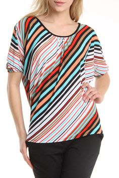 Carol Rose Diagonal Stripe Dolman Sleeve Top