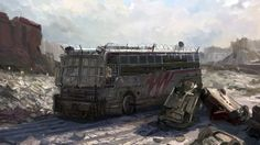 Schoolbus Picture (2d, illustration, schoolbus, post apocalyptic)
