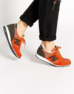 purchase cheap b66ec 64711 New Balance 420 Orange Suede Mesh Sneakers How To Wear Sneakers, Skirt And  Sneakers