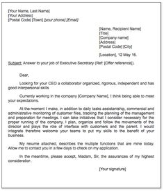 sample executive secretary letter httpexampleresumecvorgsample executive