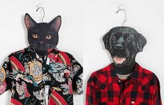 These unique oversized cardboard hangers feature funny animal heads printed on them so it looks like a bulldog, black lab, fox, black cat, or grey cat is wearing your clothes.