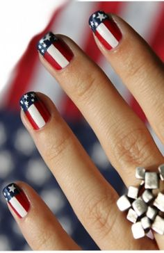 red white and blue, stars and stripes nail design