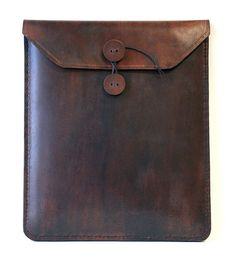 Brown leather iPad case,