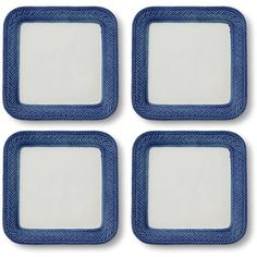 Juliska Le Panier Blue Party Plates, Set of 4 (£78) ❤ liked on Polyvore featuring home, kitchen & dining, dinnerware, delft blue, square stoneware dinnerware, square dinnerware, square plates, square stoneware plates and blue stoneware
