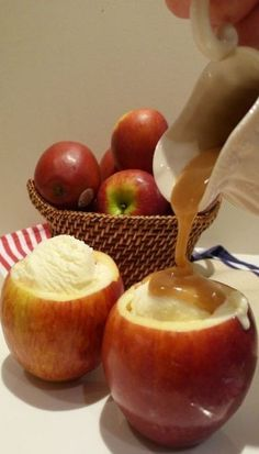 Hollow out apples and bake with cinnamon and sugar inside. After its done baking, fill with ice cream and caramel