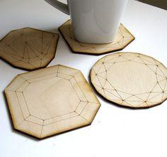 Wood Jewel Coasters - Laser Cut Birch Plywood Set of Four Geometric Diamond Gems