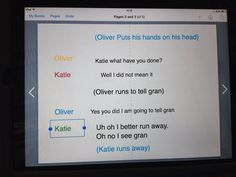 Use Book Creator to write your scenes from a play with stage directions and dialogue.