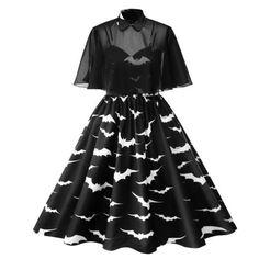 21966ebae9b Gothic Bats Vintage Cape Plus Size Dress Goth Dress