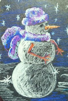 Wooley example colored pencil on black paper snowman