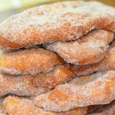 Cinnamon Sugar Beaver Tails A fantastic Canadian pastry created in my hometown of Ottawa, Canada. These pastries are easy to make and everyone will love them! Just Desserts, Delicious Desserts, Dessert Recipes, Yummy Food, Deep Fried Desserts, German Desserts, Donut Recipes, Baking Recipes, Elephant Ears Recipe