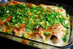 Light White Chicken and Cheese Enchiladas - smothered in a tangy sour cream and chile sauce that adds extra creaminess to this low calorie comfort food. (only 6 points)