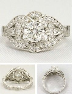 BEAUTIFUL Vintage Engagement ring! Too many sparkles for me, but gorgeous nonetheless!