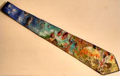 cravatta dipinta a mano su seta fondale marino