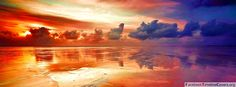 Fiery red sunset on the beach - Facebook Timeline Covers